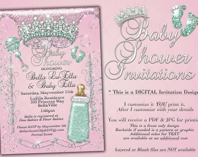 Princess Baby Shower Invitation, Baby Shower Bling, Glitter Princess Baby, Baby Showers