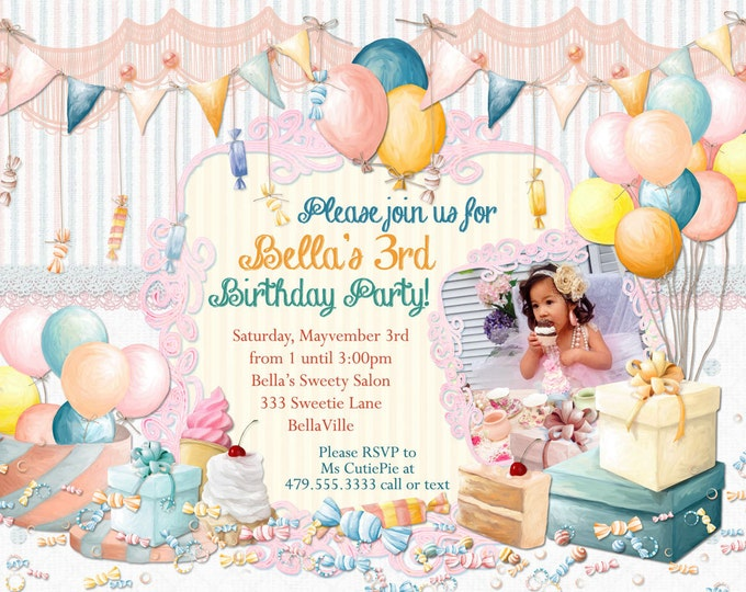 Birthday Invitation, Photo Card, Birthday Photo Invitation, Birthday Party Invitations, CandyLand Invitations