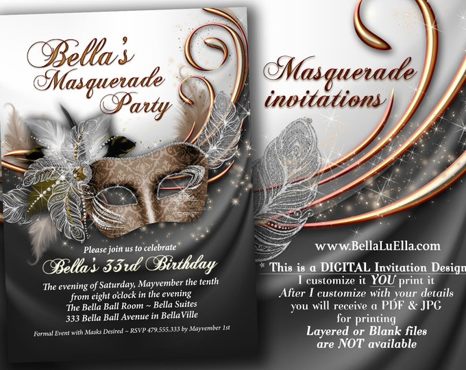 Masquerade Party Invitation, Mardi Gras Party, Party Invitations, Masquerade Anniversary Dinner, Mis Quince Anos, Sweet 16 Masked Ball