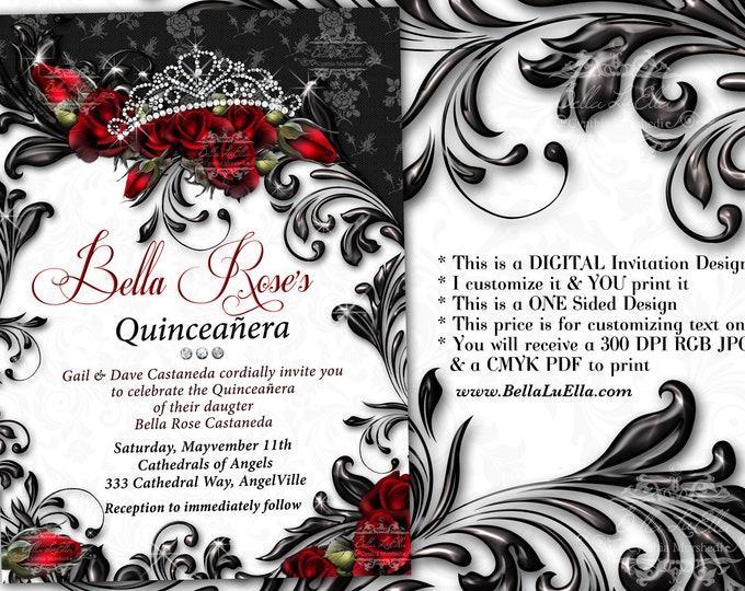 Mis Quince Anos, Bling Princess Birthday Party Invitations, Quinceanera Invitation, Party Invitations, Sweet 16 Party, Diamond Tiara