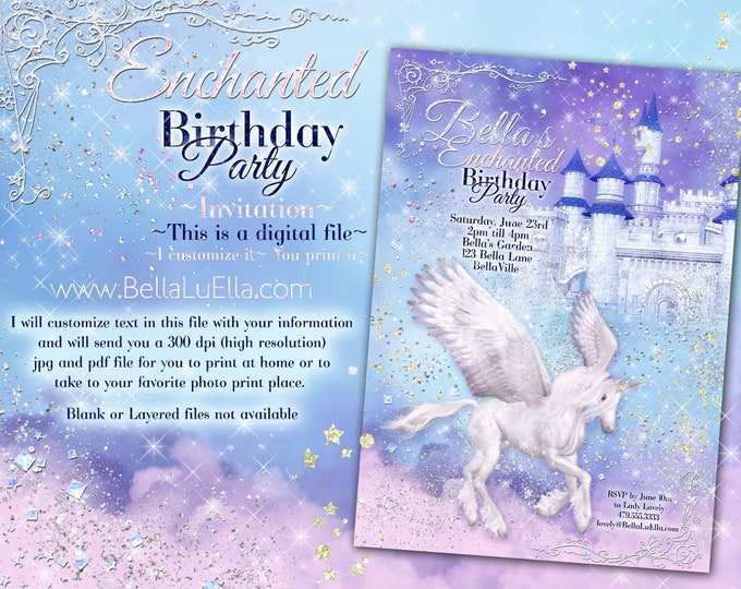 Unicorn Party Invitation, Birthday Party Invitations, Magic Unicorn Party, Unicorn Invitations, Princess Castle Unicorn Clouds Pink Purple