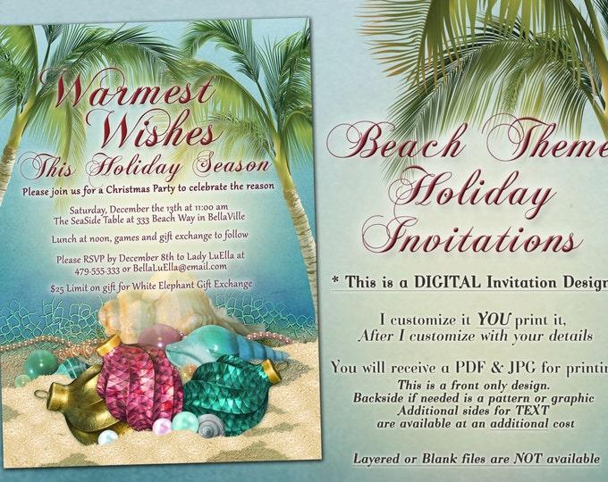 Beach Christmas, Christmas Party Invitations, Tropical Holiday Party, Beach Theme Christmas