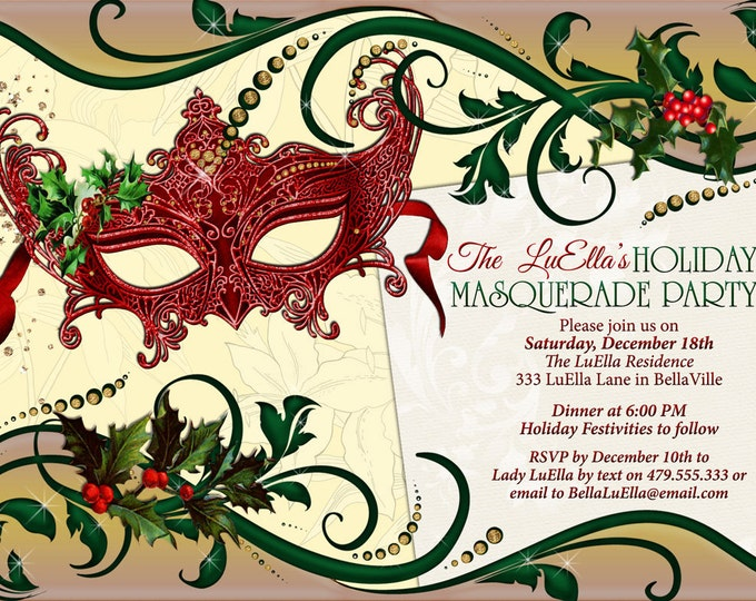 Holiday Masquerade Party, Masquerade Invitation, Christmas Masquerade