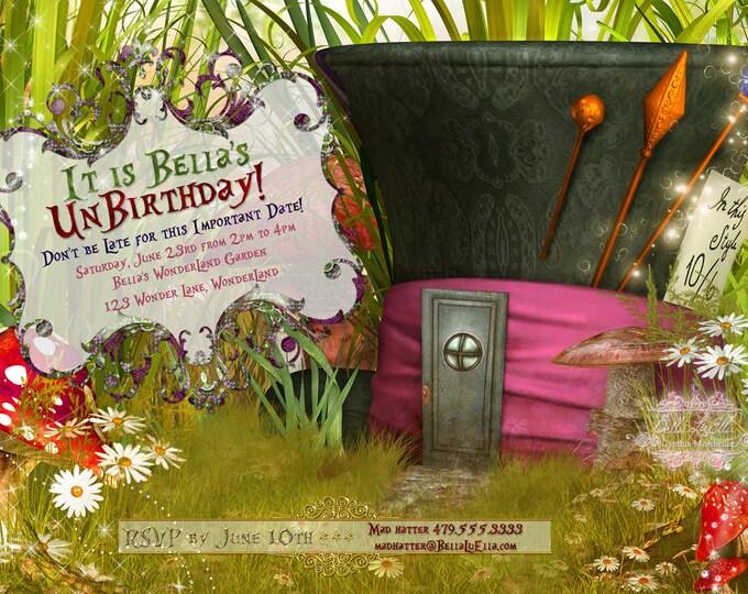 WonderLand Birthday Party Invitation, Mad Hatter Hat Invitation, WonderLand Hat Invitation