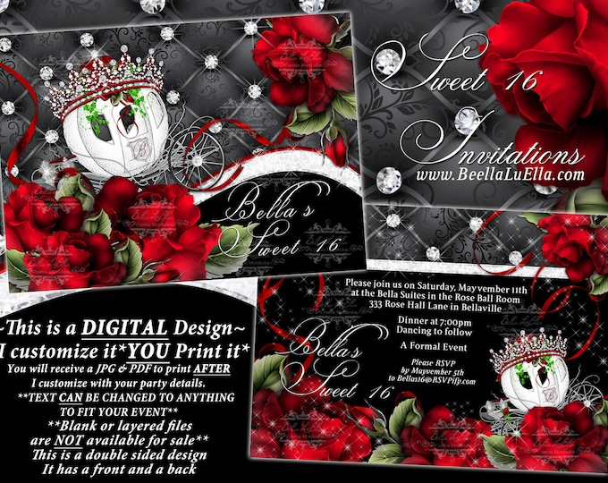Princess Carriage Birthday Party Invitations, Quinceanera Invitation, Sweet 16 Party, Mis Quince Años, Tiara Carriage Roses, Red Black White