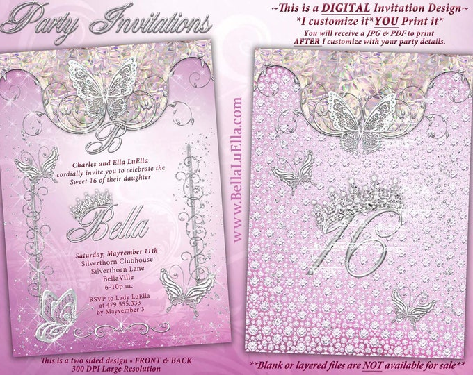 Pink Butterfly Princess Party Invitation, Butterfly Tiara Sweet 16, Mis Quince Anos, Sweet 16 Party Invitations, Quinceanera, Bling Sweet 16