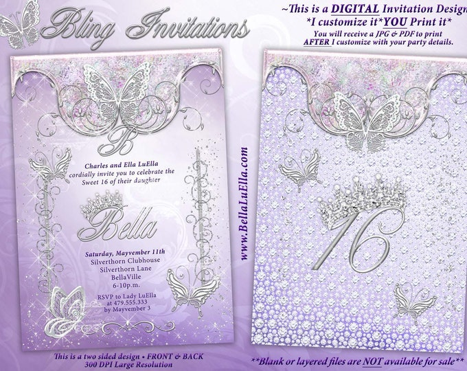 Butterfly Princess Party Invitation, Butterfly Tiara Sweet 16, Mis Quince Anos, Lavender Bling Butterfly, Butterfly Princess Tiara Bling