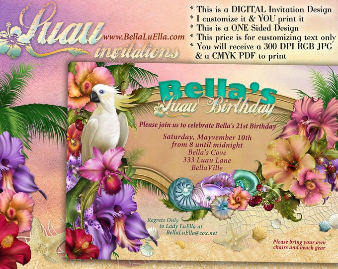 Beach Party Invitation, Luau Party, Summer Party Invitations, Luau Invitations, Beach Party, Company Luau Party, Tropical Theme