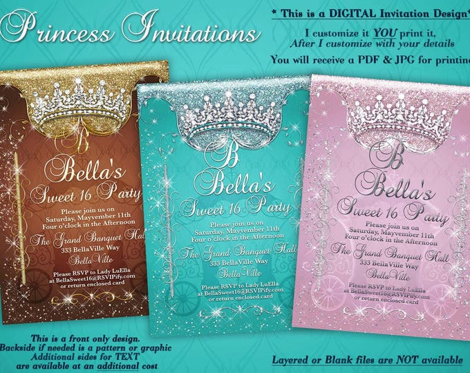 Princess Birthday Party Invitations, Quinceanera Invitation, Mis Quince Party Invitations,  Sweet 16 Party, Princess Party, Mis Quince Años