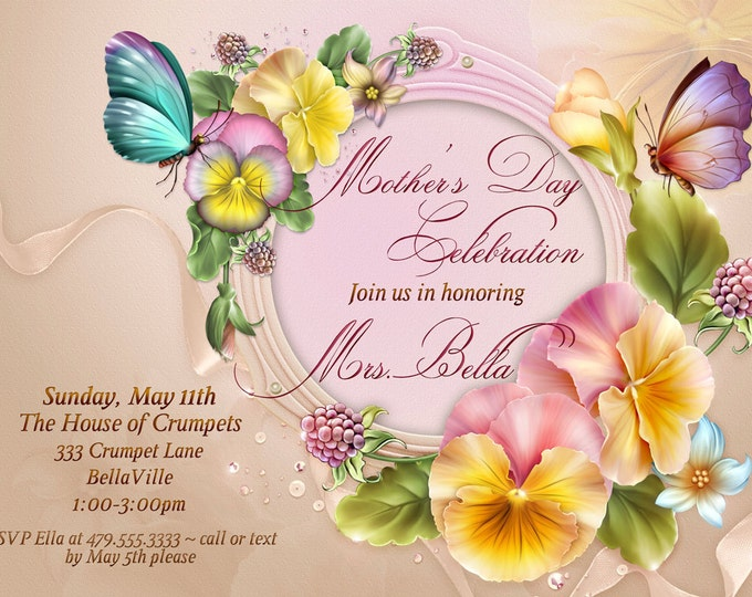 Mothers Day Celebration, Spring Birthday Card, Floral Invitations, Mothers Day Invitation