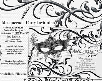 Black White Masquerade Party, Quinceanera Masquerade Invitation, Sweet 16 Birthday Mardi Gras Party, Black White Ball, Mask Party