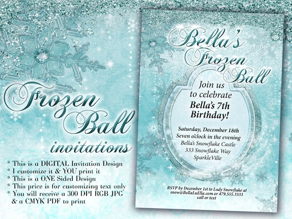 frozen party winter snowflake ball invitation winter party etsy