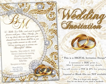 Wedding and Anniversary Invitations, Pearl Gold Wedding Invitation, Bling Anniversary Wedding Party, Pearls and Bling Wedding Anniversary