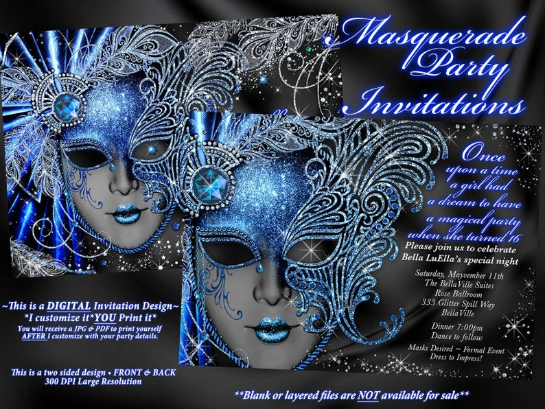 Sweet 16 Masquerade Party Invitation Mardi Gras Mis Quince Anos