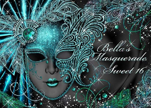Sweet 16 Masquerade Party Invitation Mardi Gras