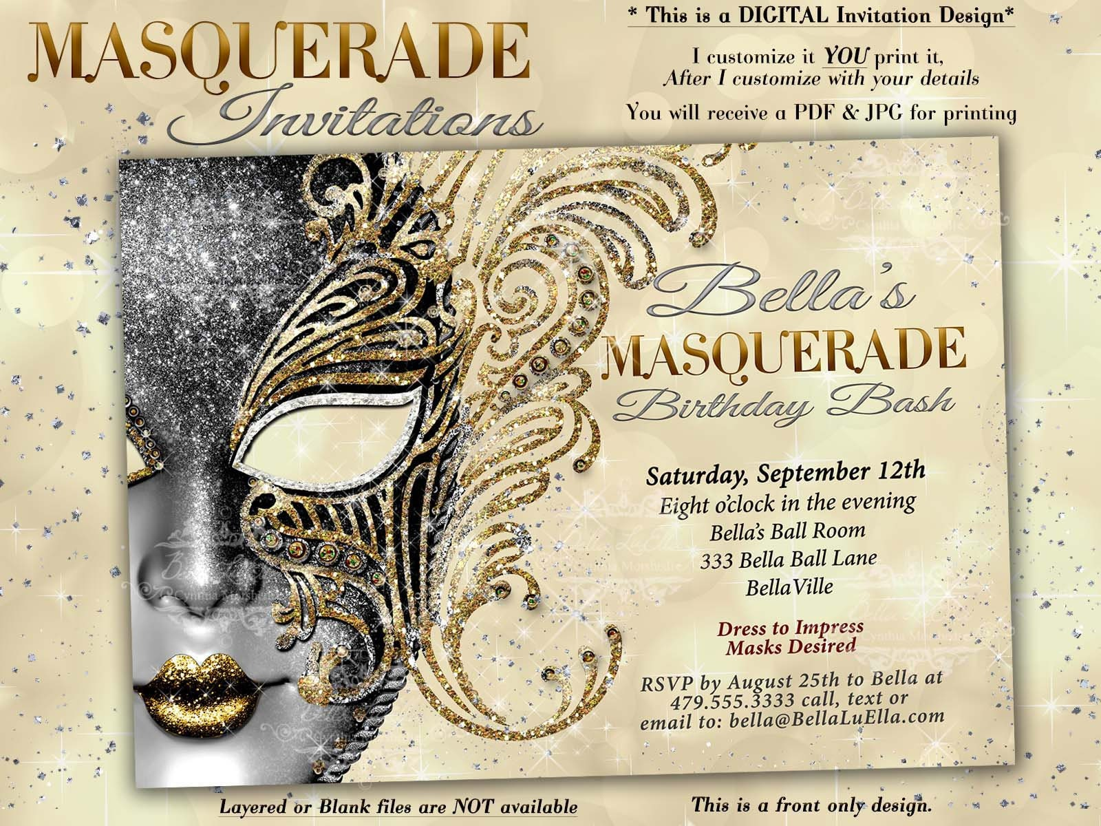 Masquerade Party Invitation Mardi Gras Invitations