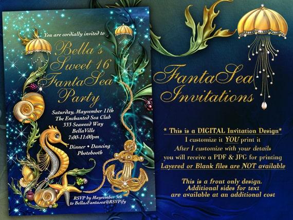Nautical Theme Party Invitation Under The Sea Theme Etsy