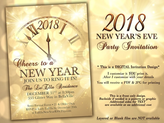 New Years Eve Party Invitation Gold Sparkle Clock Invitation Etsy