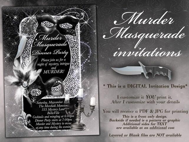 Masquerade Murder Mystery Party Invitation Dinner