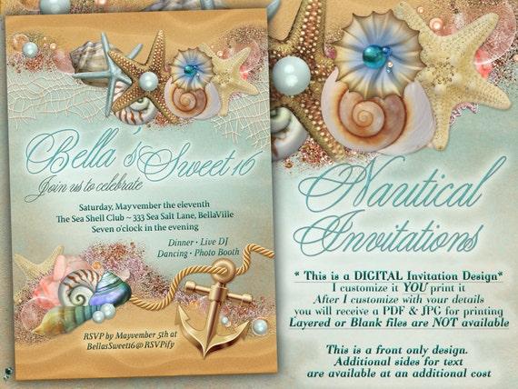 Nautical Theme Party Invitation Beach Theme Shower Nautical Etsy