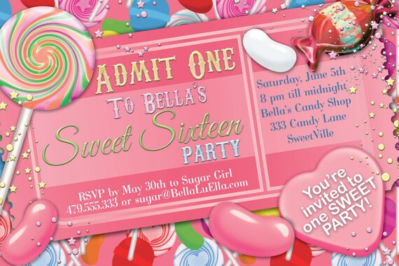 candy party invitation sweet 16 party invitation candy land etsy
