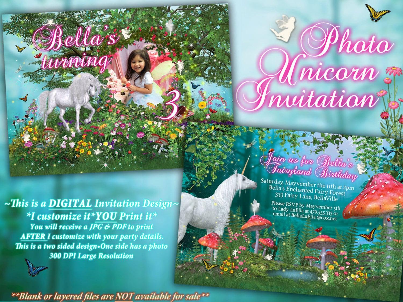 Photo Unicorn Birthday Card Fairy Unicorn Card Unicorn