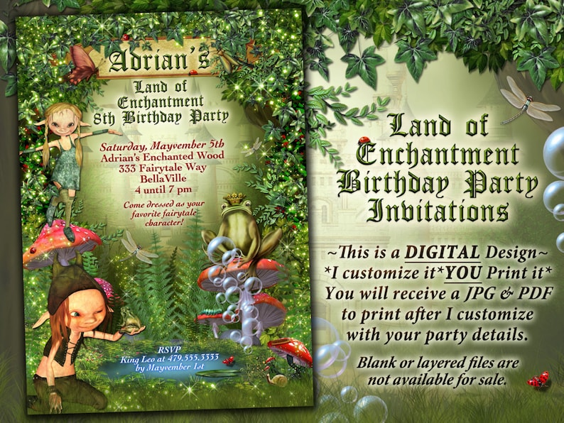 affb57030f8 Fairytale Forest Party Enchanted Wood Invitation Frog Castle