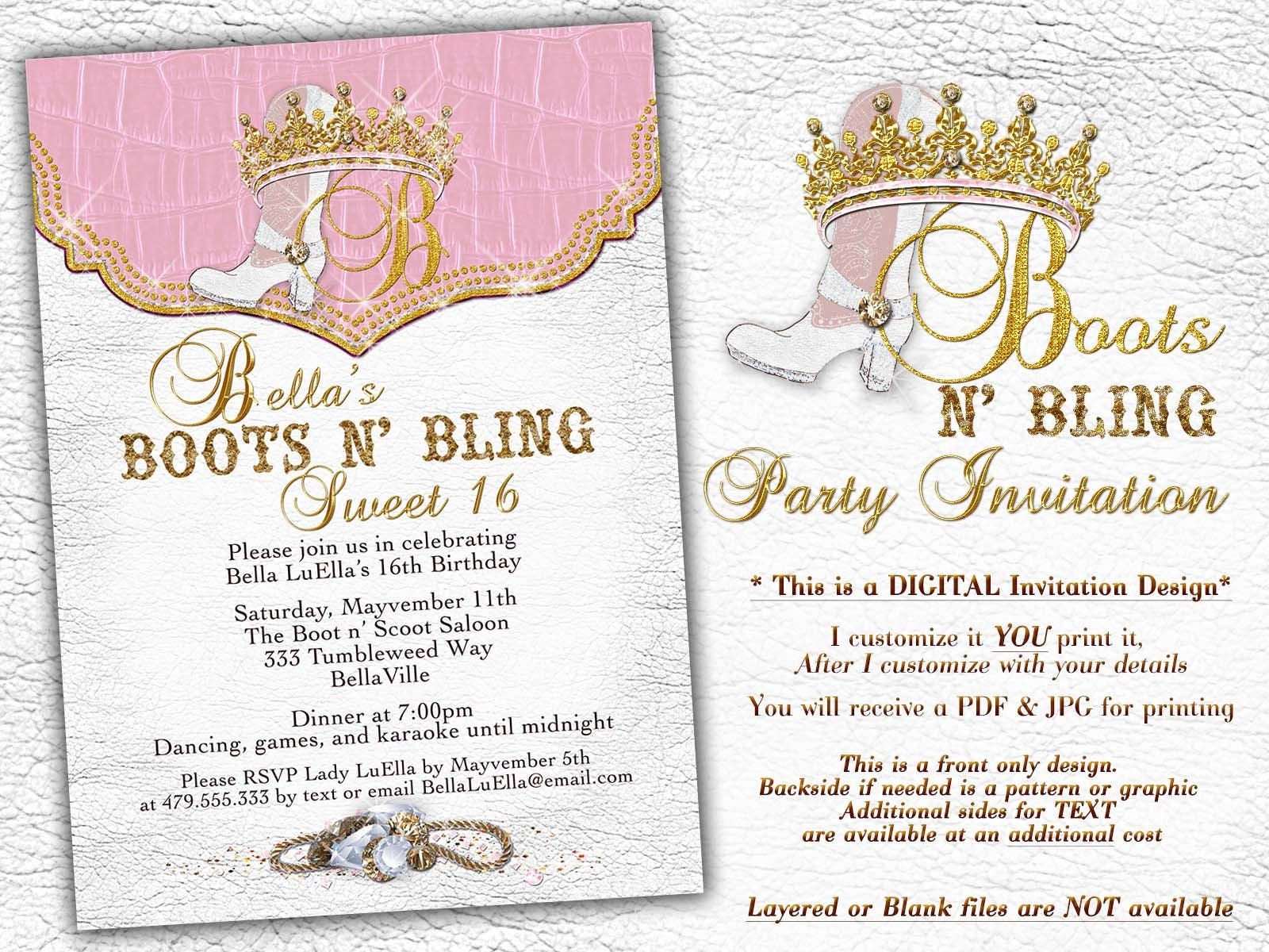 Boots Bling Sweet 16, Sweet 16 Invitations, Western Birthday ...