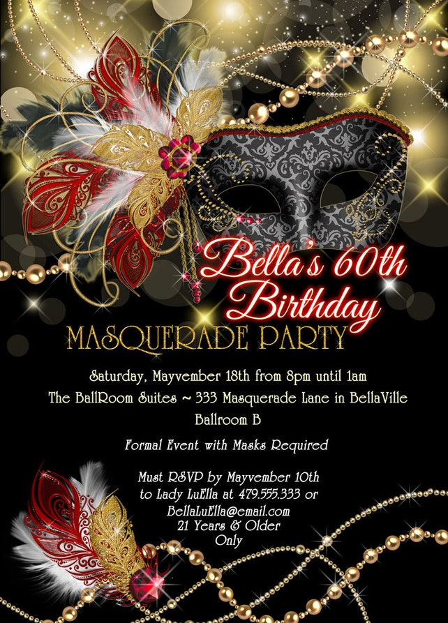 Masquerade Party Invitation Mardi Gras Mis Quince