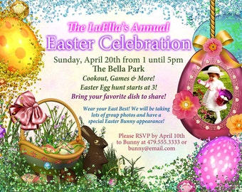 Easter Photo Card, Easter Egg Hunt Party, Easter Sunday Card, Egg Hunt Invitations, East Card with Photo