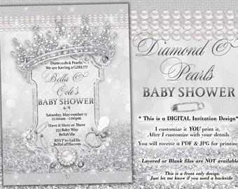 Diamond Bling Princess Baby Shower Invitation, Baby Shower Bling, White Glitter Princess Baby, Baby Showers, Diamond and Pearls Baby Shower