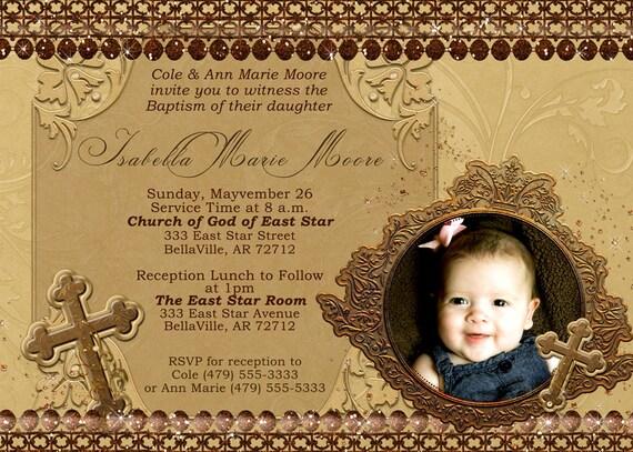 Photo Baptism Christening Invitation, Religious Announcement