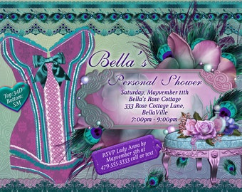 Lingerie Shower Invitation,Personal Shower Invitations, Corset Invitations, Burlesque Invitations