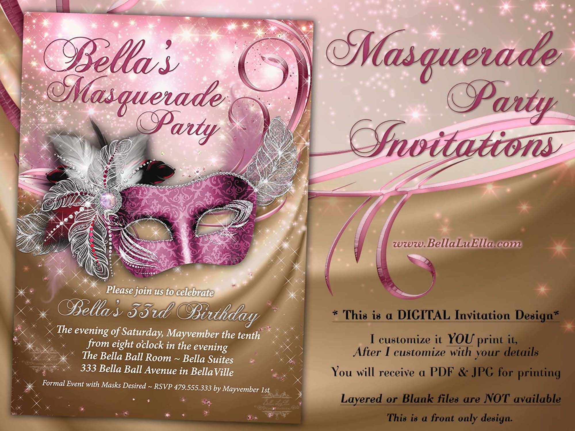 Masquerade Party Invitation Sweet 16 Mis Quince