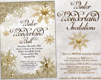 White Gold Snowflake Invitation, Winter Wonderland Party Invitation, Snowflake Holiday Invitation, Christmas Party Invitation, Bling Snow