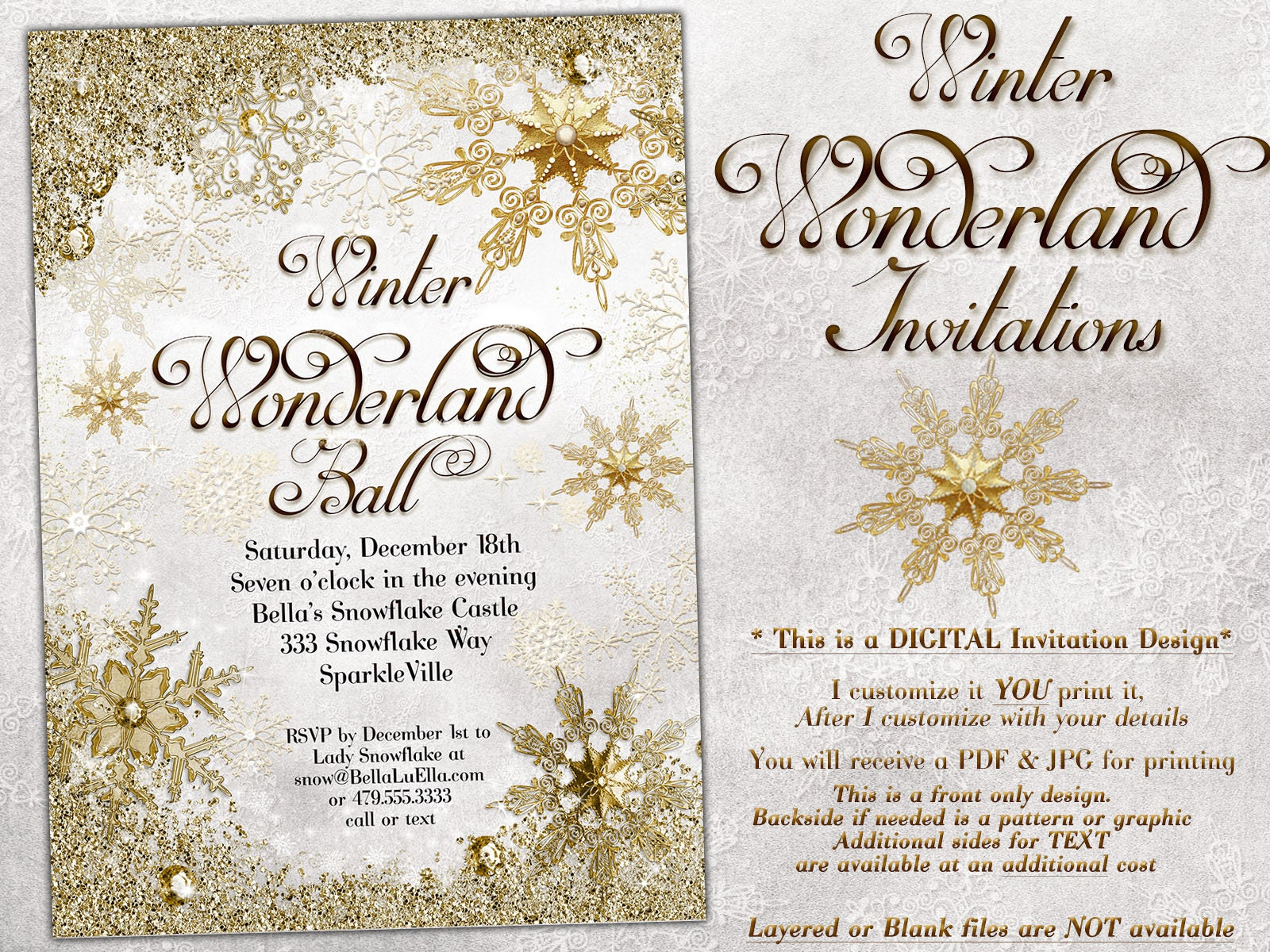 White Gold Snowflake Invitation Winter Wonderland Party Holiday Christmas Bling Snow: Blank Wedding Invitations Snow Flakes At Reisefeber.org