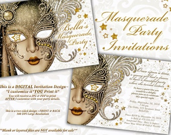 Masquerade Party Invitation, Mardi Gras Party, Masquerade Invitations, Gold White Masquerade, Diamond Bling Masquerade, Quinceanera