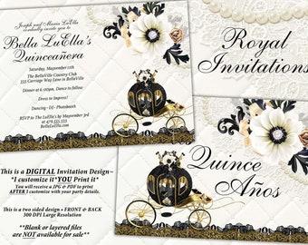 Quinceanera Invitation, CinderBella Sweet 16, Sweet 16 Party Invitations, Princess Invitations, Royal Carriage Design, Gold White Black