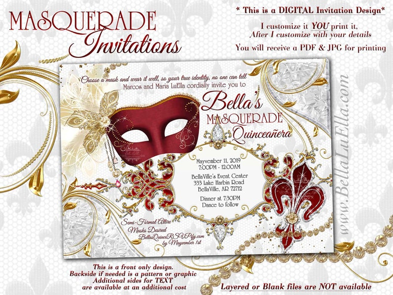 Bling Masquerade Party Invitation Quinceanera Sweet 16 Ball Red White Gold Mask Mis Quince Anos Birthday