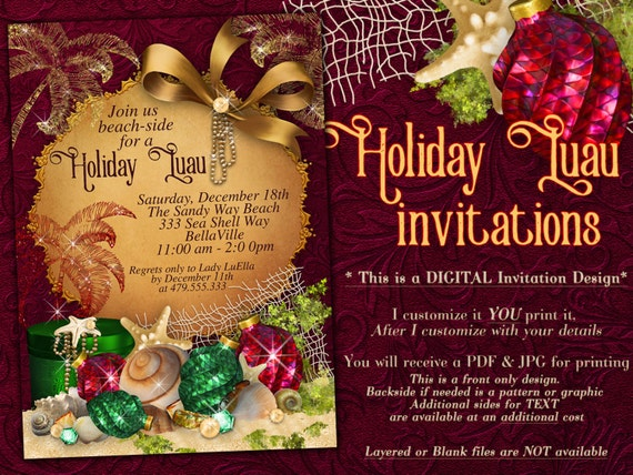 Luau Christmas Christmas Party Invitations Tropical Holiday Party Beach Christmas