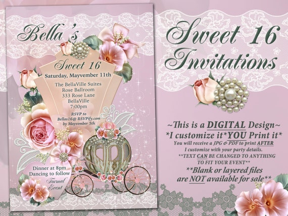 CinderBella Carriage Invitation Princess Party