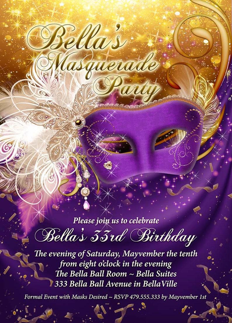 c773135c298 Masquerade Party Invitation Mardi Gras Party Quinceanera