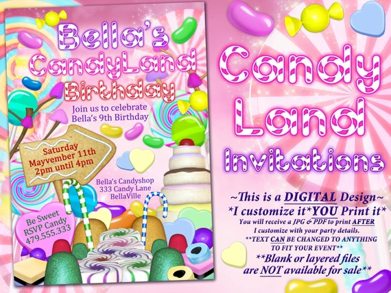 Candyland Birthday Party Invitation Candy Land Party Etsy