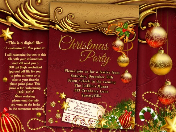 Christmas Party Invitations Christmas Card Christmas Dinner Card Holiday Card Christmas Party