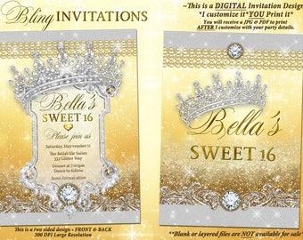 Gold Diamond and Pearl Invitation, Bling Sweet 16 Invitation, Quinceanera, Bling Party Invitations, Mis Quince Anos, Tiara Diamond Glitter