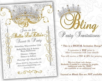 Bling Diamond Party Invitations, Quinceanera Invitation, Party Invitations, Sweet 16 Party, Mis Quince Anos, White Gold Diamond Bling Theme
