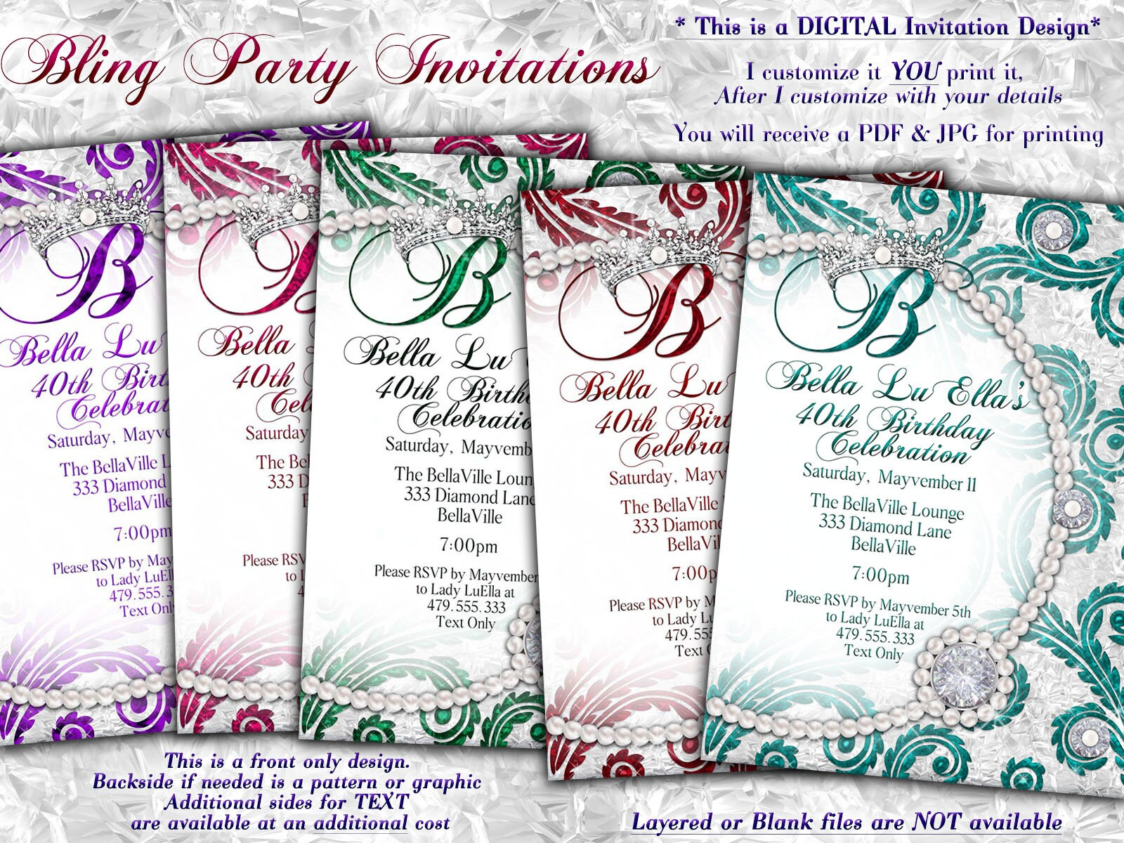 Bling Diamond Pearl Party, Birthday Party Invitations, Quinceanera ...
