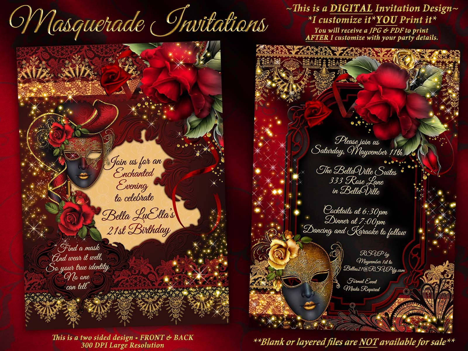 masquerade party invitation mardi gras party birthday masquerade
