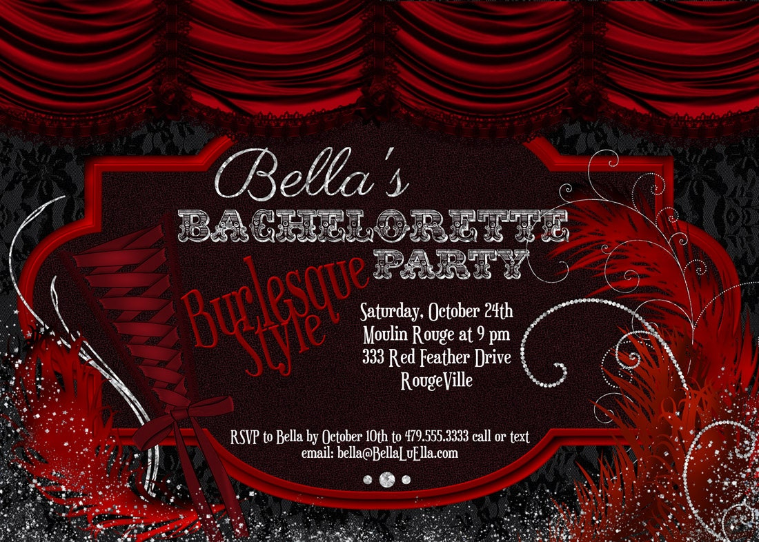 Burlesque Bachelorette Party Invitation Bachelorette