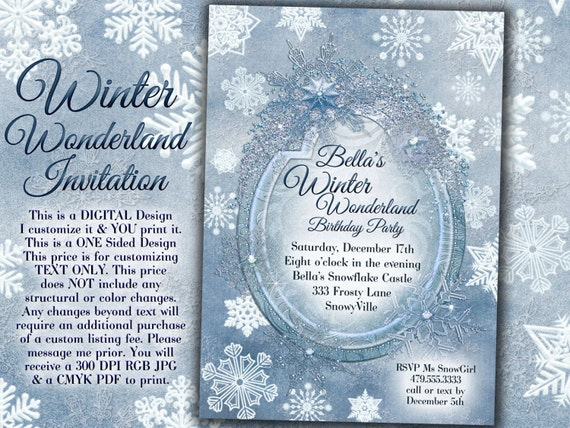 Winter Wonderland Party Winter Snowflake Invitation Winter Etsy